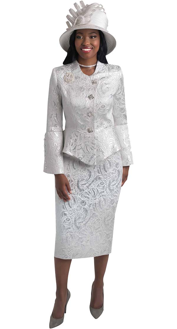 Lily and Taylor 4441-Silver -  Skirt Suit In Brocade Design With Wrap Style Jacket