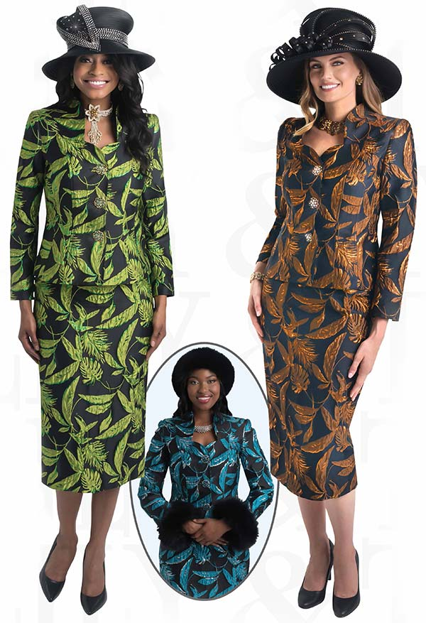 Lily and Taylor 4447 -  Skirt Suit With Multi Foliage Print Design