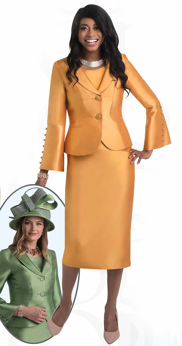 Lily and Taylor 4452 -  Womens Skirt Suit With Shawl Lapel Flared Sleeve Jacket
