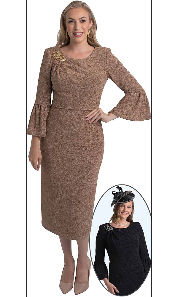 Lily and Taylor 4456 - Flounce Sleeve Dress With Ruched Effect To Brooch