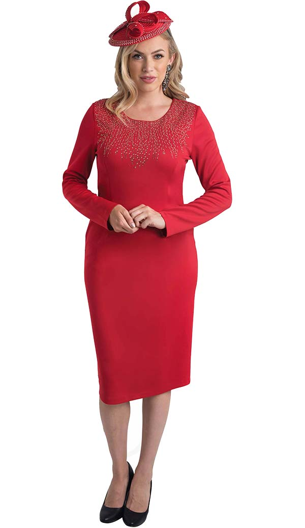 Lily and Taylor 4480 - Dress With Rhinestone Embellished Neckline In Ponte Knit Fabric