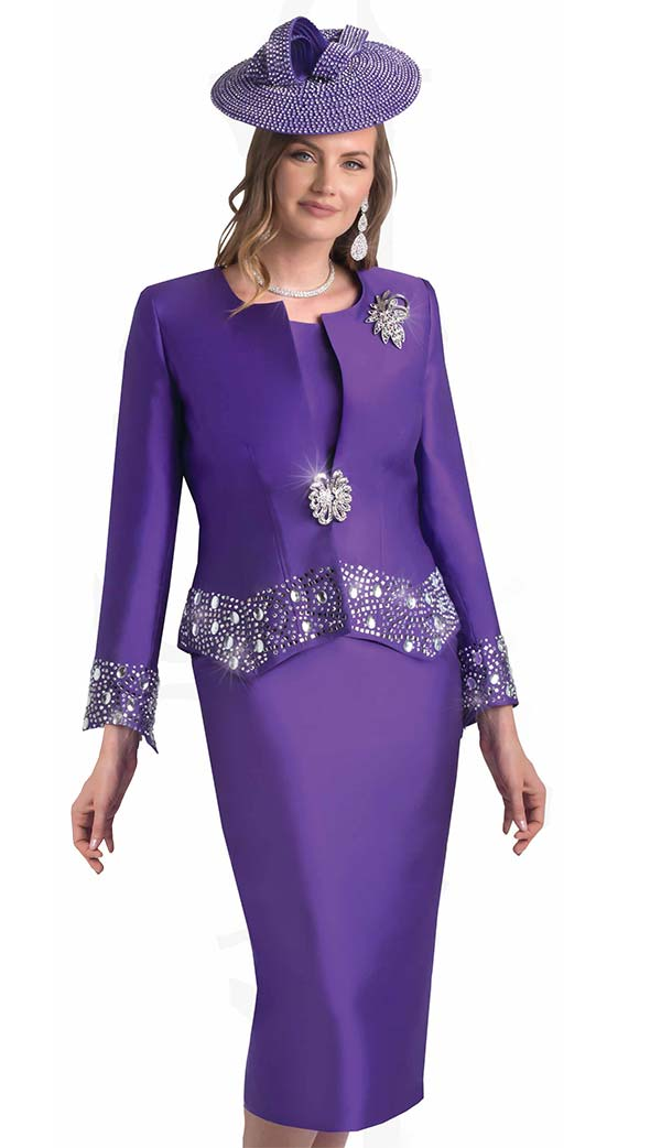 Lily and Taylor 4498 - Three Piece Skirt Suit With Jewel Neckline And Rhinestone Embellished Trims