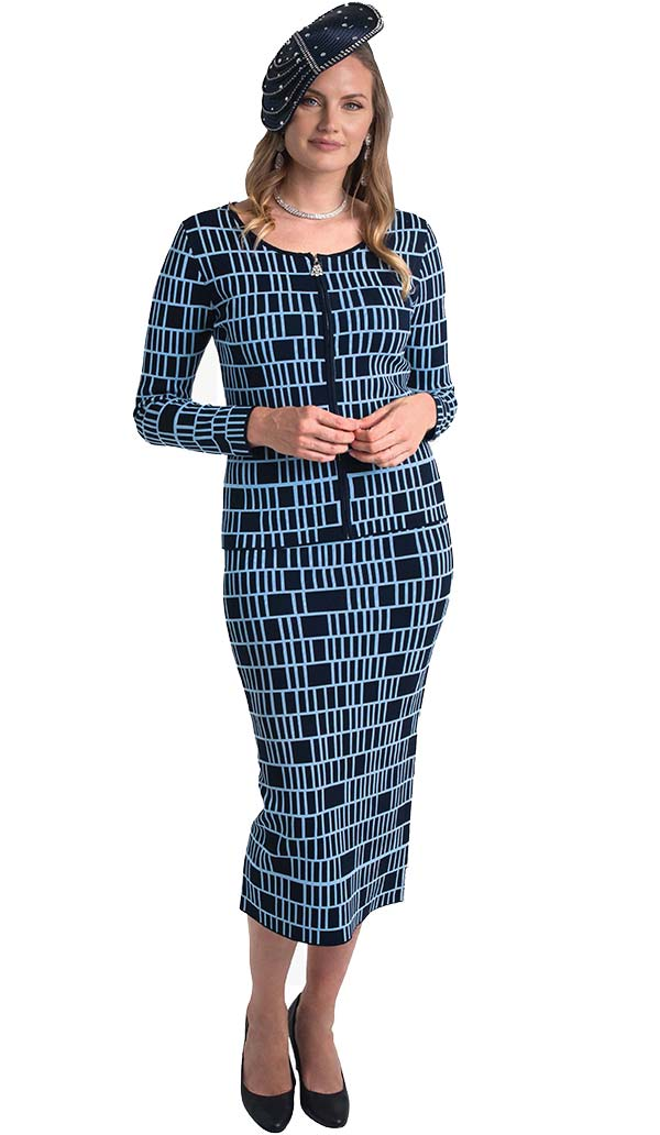 Lily and Taylor 628 - Two Piece Grid Pattern Knit Fabric Skirt Suit With Scoop Neckline Design