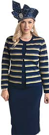 Lily and Taylor 648 - Knit Fabric Skirt Suit With Striped Jacket