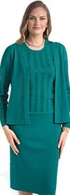 Lily and Taylor 651 - Knit Fabric Skirt Suit Embellished With Rhinestones