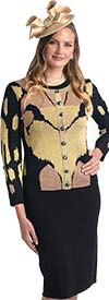 Lily and Taylor 655 - Knit Fabric Dress & Jacket Suit With Abstract Graphic Design
