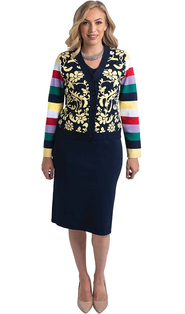 Lily and Taylor 656 - Three Piece Knit Fabric Skirt Suit With Multicolor Striped Sleeve Design