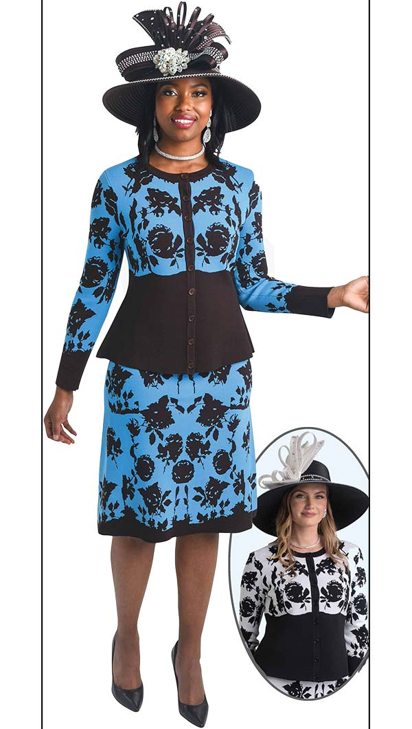 Lily and Taylor 657 - Three Piece Knit Fabric Skirt Suit With Floral Pattern Design