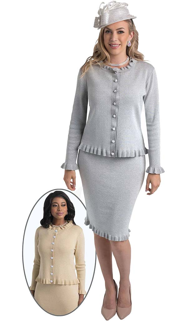 Lily and Taylor 659 - Knit Fabric Dress & Jacket Set With Ruffle Trim Design
