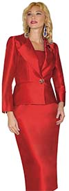 Lily and Taylor 3809 - Two Piece Skirt Suit With Asymmetric Lapel Brooch