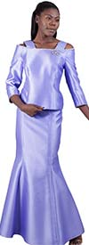 Lily and Taylor 3964-Lavender - Womens Silky Twill Mermaild Skirt Suit With Jeweled Neckline