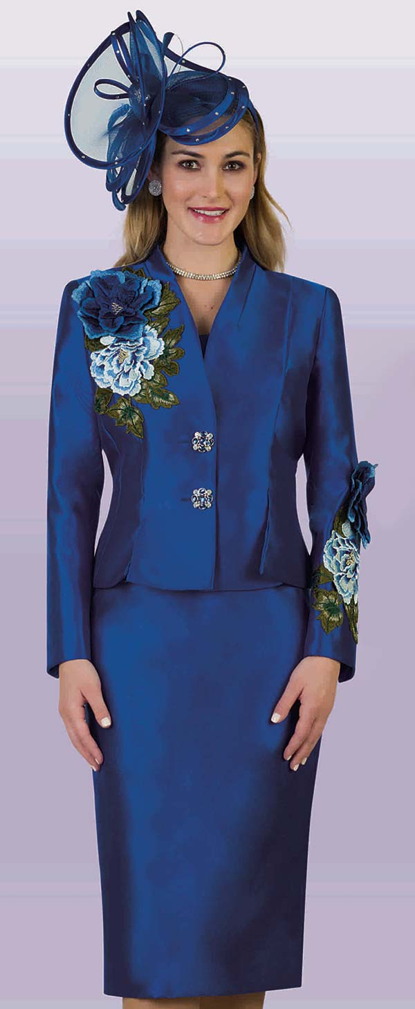 Lily and Taylor 4122 - Silky Twill Fabric Skirt Suit With Embroidered Floral Adornments