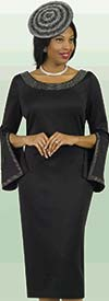 Lily and Taylor 4153-Black - Ponte Knit Womens Church Dress With Embellished Neckline & Split Cuff Sleeves