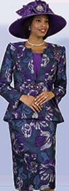 Lily and Taylor 4240 - Novelty Fabric Skirt Suit With Floral Print Design