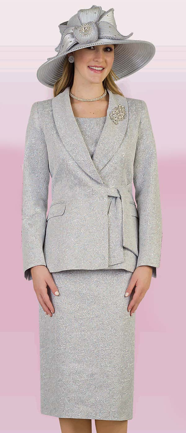 Lily and Taylor 4306 - Three Piece Shawl Lapel Skirt Suit In Textured Novelty Fabric