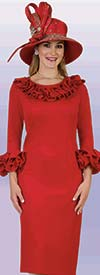 Lily and Taylor 4375-Red - Womens Dress With Ruffle Trims In Ponte Knit Fabric