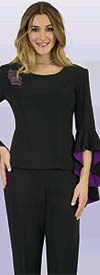 Lily and Taylor 4381 - Ponte Knit Fabric Womens Pant Suit With Color Lined Flounce Sleeve Jacket