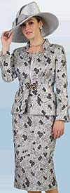 Lily and Taylor 4388 - Three Piece Multi Floral Print Skirt Suit
