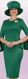 Lily and Taylor 4389-Emerald - Ponte Knit Womens Church Dress With Embellished Split Cuff Sleeves