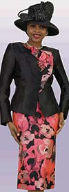 Lily and Taylor 4395 - Painted Floral Print Skirt Suit With Asymmetric Lapel Jacket