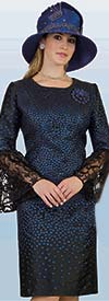 Lily and Taylor 4398-BlackRoyal - Lace Flounce Sleeve Dress With Polka Dot Design