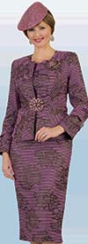 Lily and Taylor 4400 - Jewel Neckline Ladies Church Suit With Multi Stripe And Print Design