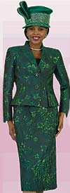 Lily and Taylor 4475 - Skirt And Wrap Style Jacket Set With Brocade Flower Design