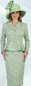 Lily and Taylor 4483-Sage -Two Piece Womens Church Suit In Floral Textured Fabric With Wing Lapel Peplum Jacket