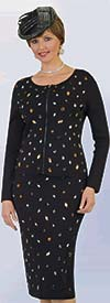 Lily and Taylor 629 - Two Piece Beaded Knit Fabric Skirt Suit With Scoop Neckline Design