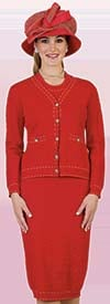 Lily and Taylor 635 - Three Piece Knit Fabric Skirt Suit With Stitching Accent Design