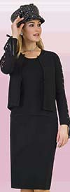 Lily and Taylor 636 - Three Piece Knit Fabric Skirt Suit With Laced Grommet Details