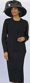 Lily and Taylor 651-Black - Knit Fabric Skirt Suit Embellished With Rhinestones