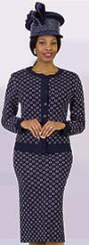 Lily and Taylor 658 - Three Piece Knit Fabric Skirt Suit With Circle Pattern Design