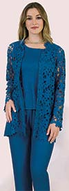 Lily and Taylor 3653 - Womens Three Piece Pant Suit With Cut-Out Design In Crinkle Fabric
