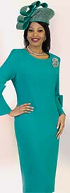Lily and Taylor 4154 - Bow Adorned Bell Sleeve Sheath Dress With Brooch