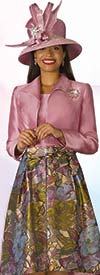 Lily and Taylor 4182 - Silky Twill Novelty Fabric Print Design Skirt Outfit With Solid Bolero Jacket