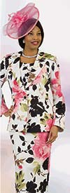 Lily and Taylor 4307 - Floral Multi Print Novelty Fabric Womens Skirt Suit