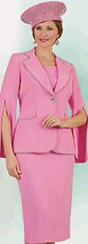 Lily and Taylor 4334 - Womens Three Piece French Crepe Fabric Skirt Suit With Split Sleeves & Beaded Trim