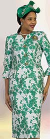 Lily and Taylor 4371 - Two Piece Floral Print Skirt Suit With Bell Cuff Sleeves