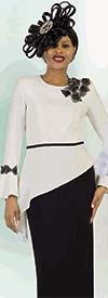 Lily and Taylor 4379 - Two Piece Womens Skirt Suit Wtth Tilted Hem Bell Cuff Bow Sleeve Top
