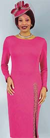 Lily and Taylor 4392-Fuchsia - Ponte Knit Fabric Dress With Embellished Vent Detail