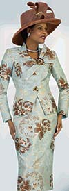 Lily and Taylor 4446 - Two Piece Skirt Suit In Floral Print Design