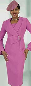 Lily and Taylor 4453 - Flounce Sleeve Sheath Dress With Shawl Lapel