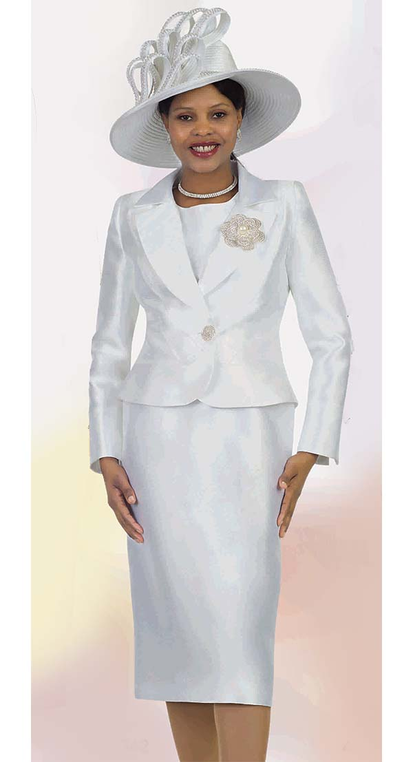 Lily and Taylor 4542-White -  Three Piece Womens Chuch Suit With Notch Lapel Jacket