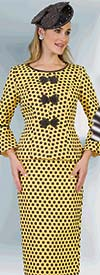 Lily and Taylor 4380 - Two Piece Novelty Skirt Suit In Polka Dot Print Design