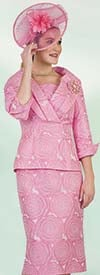 Lily and Taylor 4428 - Womens Church Suit With Floral Print Design And Over Shoulder Collar Jacket