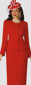 Lily and Taylor 2920-Red - Crepe Fabric Classic Womens Church Suit