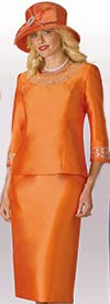 Lily and Taylor 3219 - Two Piece Silky Twill Skirt Suit With Rhinestones
