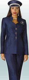 Lily and Taylor 3760 - Twill Fabric Classic Womens Pant Suit With Star Neckline Jacket