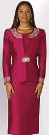 Lily and Taylor 3800-Wine - Silky Twill Skirt Suit With Rhinestone Embellishments